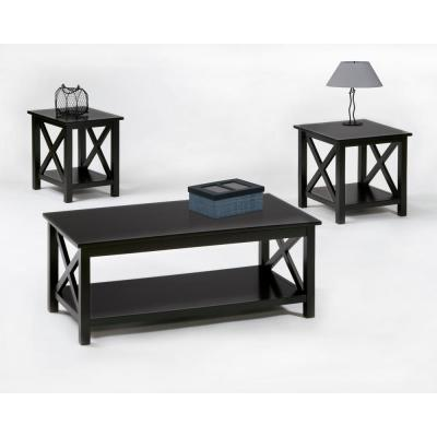 Seascape I 3-Piece Textured Black Rectangle Wood Coffee Table Set with Lift Top