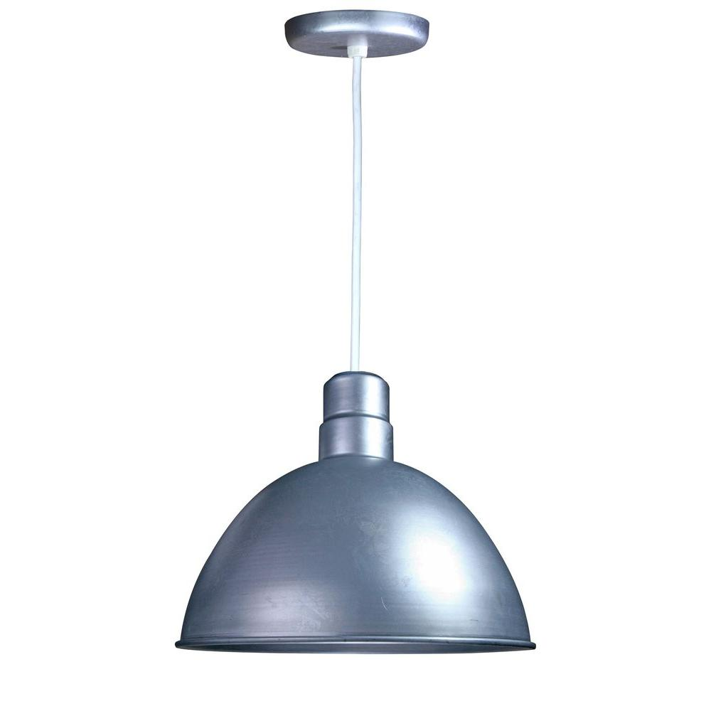 1-Light Outdoor Hanging Galvanized Deep Bowl Pendant