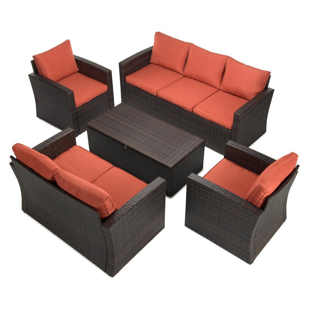 5-Piece Wicker Outdoor Patio Conversation Furniture Set in Orange