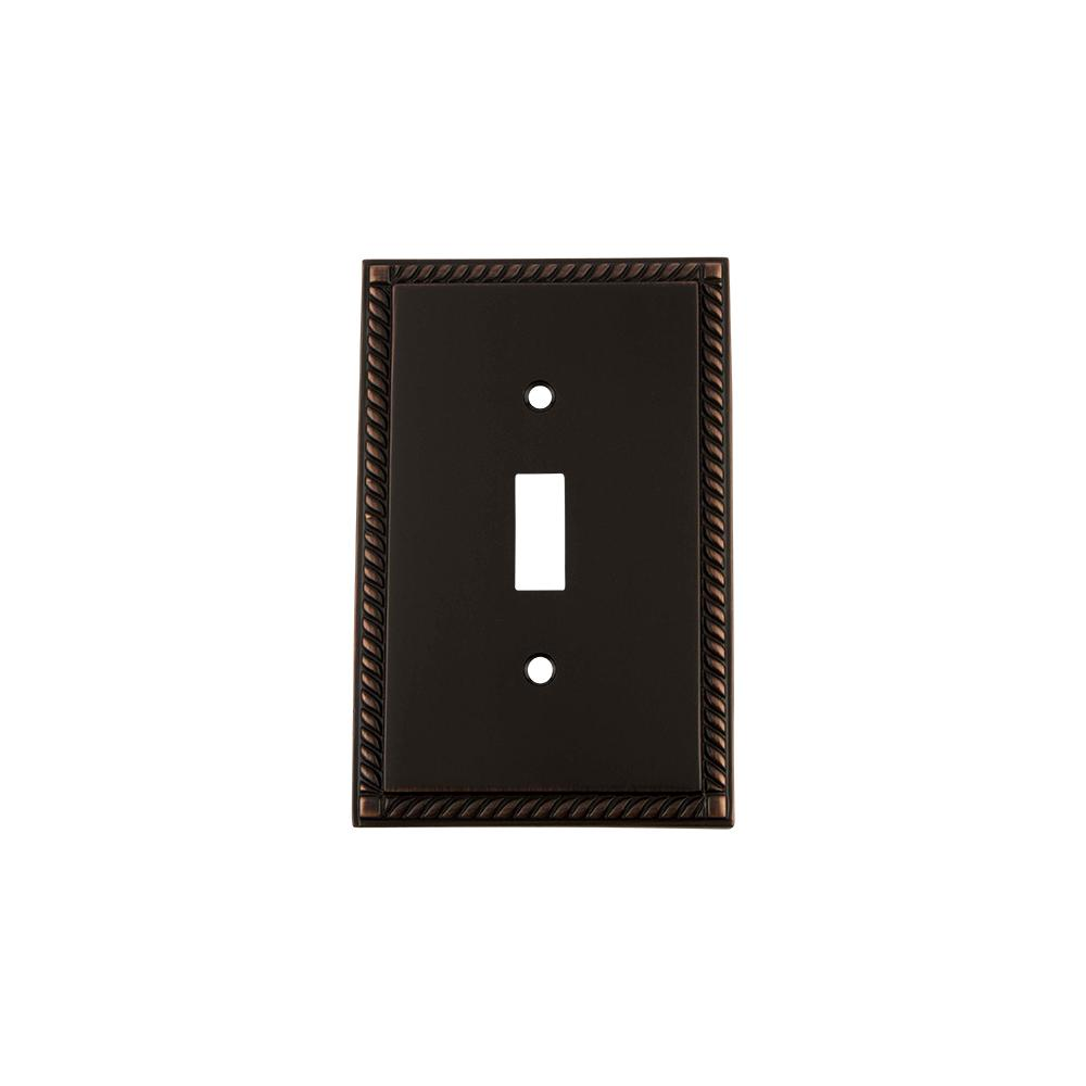 Rope Switch Plate with Single Toggle in Timeless Bronze