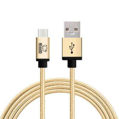 6.6 ft. Braided Nylon USB Type C Male to USB Type A Cable, Gold