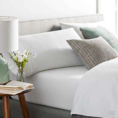 3-Piece White Cotton Blend Twin Sheet Set
