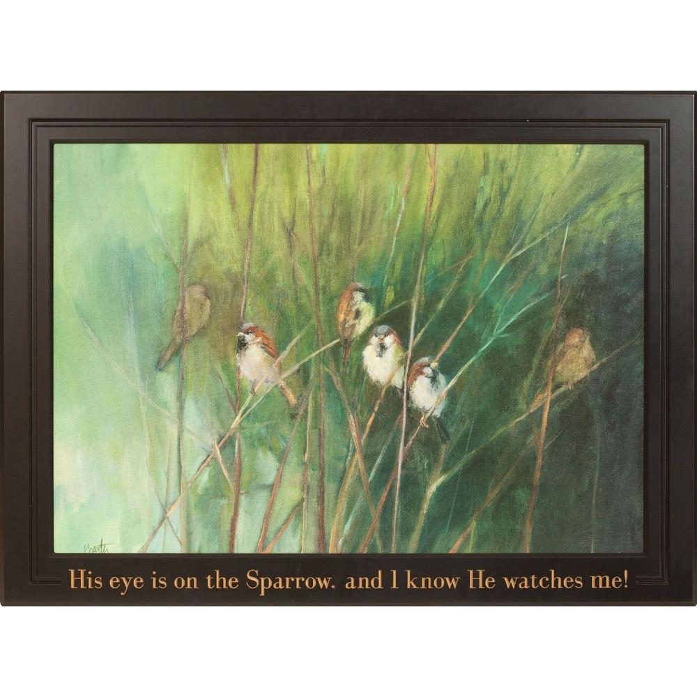 P. Graham Dunn 40 in. x 29 in. Carved Wood Framed Art Supper Sparrows