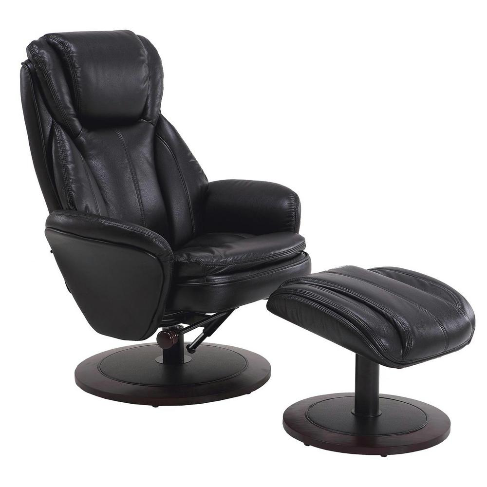Mac Motion Comfort Chair Black Breatheable Fabric Swivel Recliner With  Ottoman