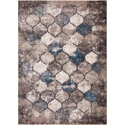Alino Blue 8 ft. x 10 ft. Quatrefoil Area Rug