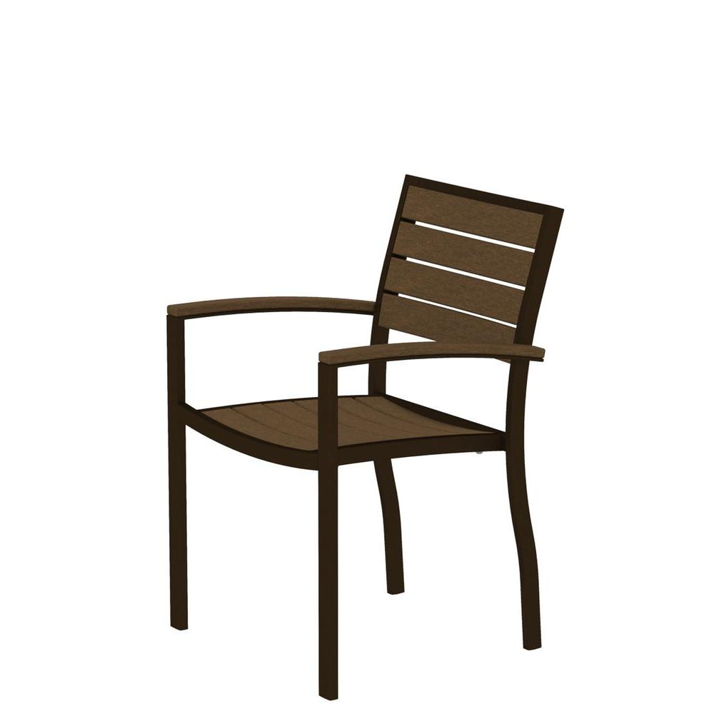 POLYWOOD Euro Textured Bronze Patio Dining Arm Chair with Teak Slats