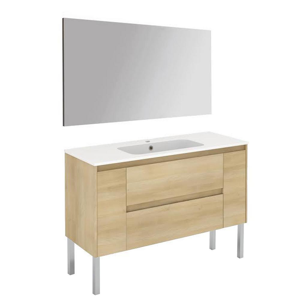 47.5 in. W x 18.1 in. D x 32.9 in. H Complete Bathroom Vanity Unit in Nordic Oak with Mirror