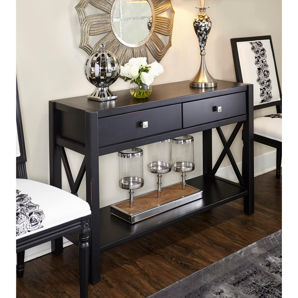 Linon home decor anna black storage console table for Anna decoration in home