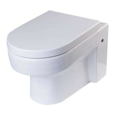 Wall Mount 1-Piece 0.8/1.6 GPF Dual Flush Elongated Toilet Bowl in White Seat Included