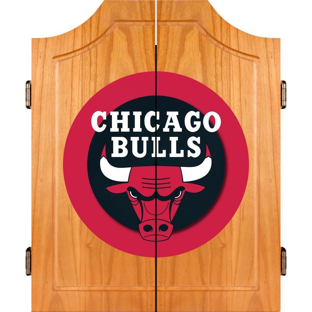 Trademark NBA Chicago Bulls Wood Finish Dart Cabinet Set
