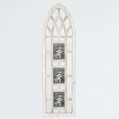 Cathedral Window with Three 5 in. x 7 in. Wood Wall Picture Frames Wood