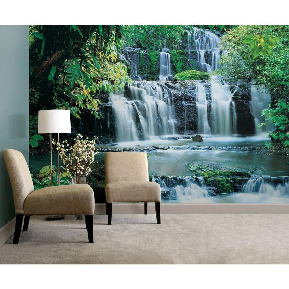 Komar 145 In X 8 Ft 4 In Purakaunui Falls Waterfall Mural 8 256 The Home Depot