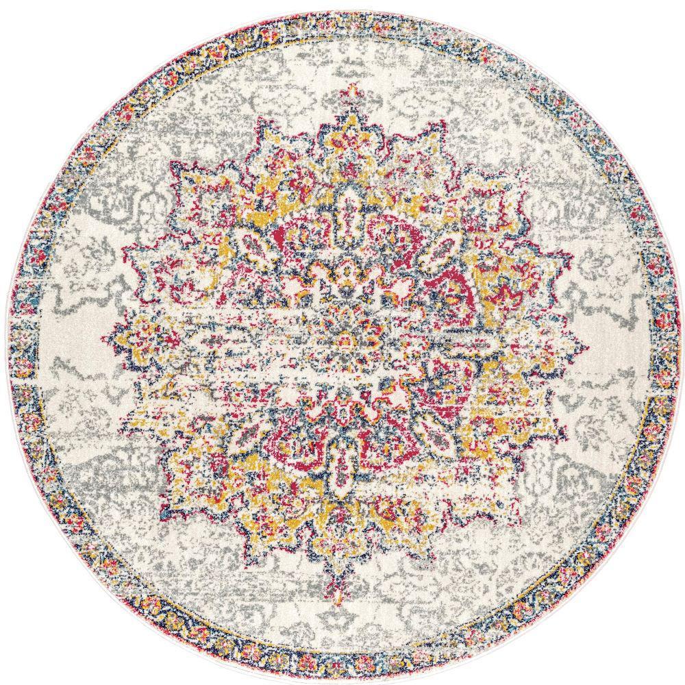 Leola Vintage Medallion Pink 8 ft. Round Rug