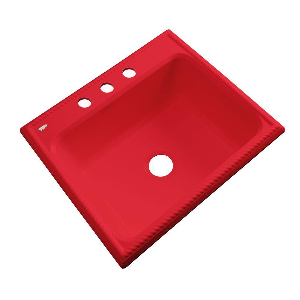 Thermocast Wentworth Drop-In Acrylic 25 in. 3-Hole Single Basin Kitchen Sink in Red