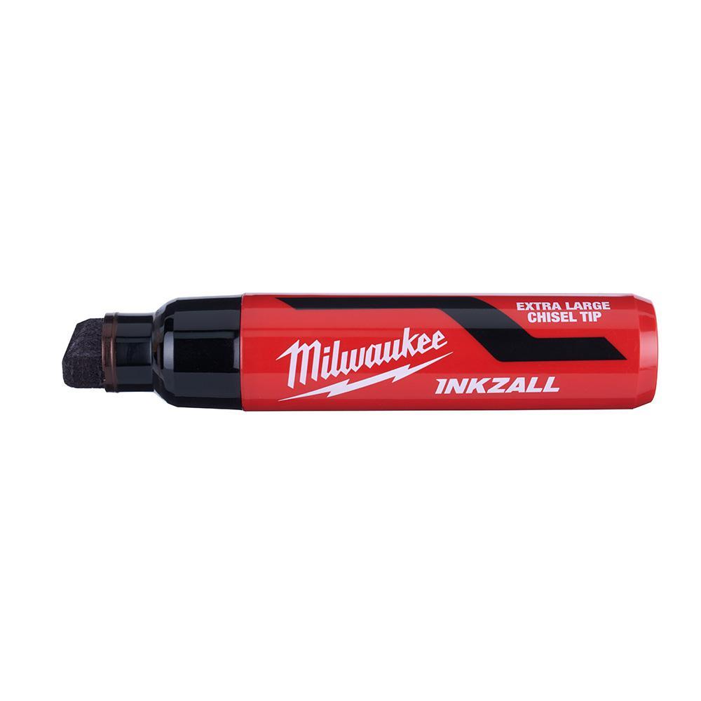 INKZALL Black Extra Large Chisel Tip Jobsite Permanent Marker