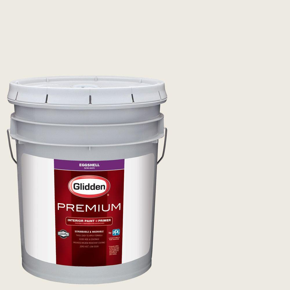 Glidden Premium 5 gal. #HDGCN03U Wedding White Eggshell Interior Paint with Primer
