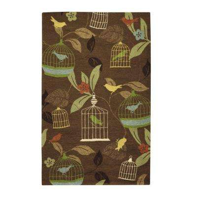 Aviary Brown 5 ft. x 8 ft. Area Rug