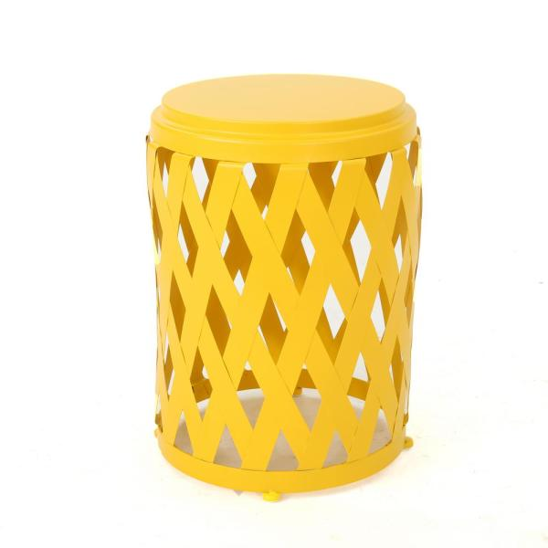 Selen 18 in. Matte Yellow Round Metal Outdoor Side Table