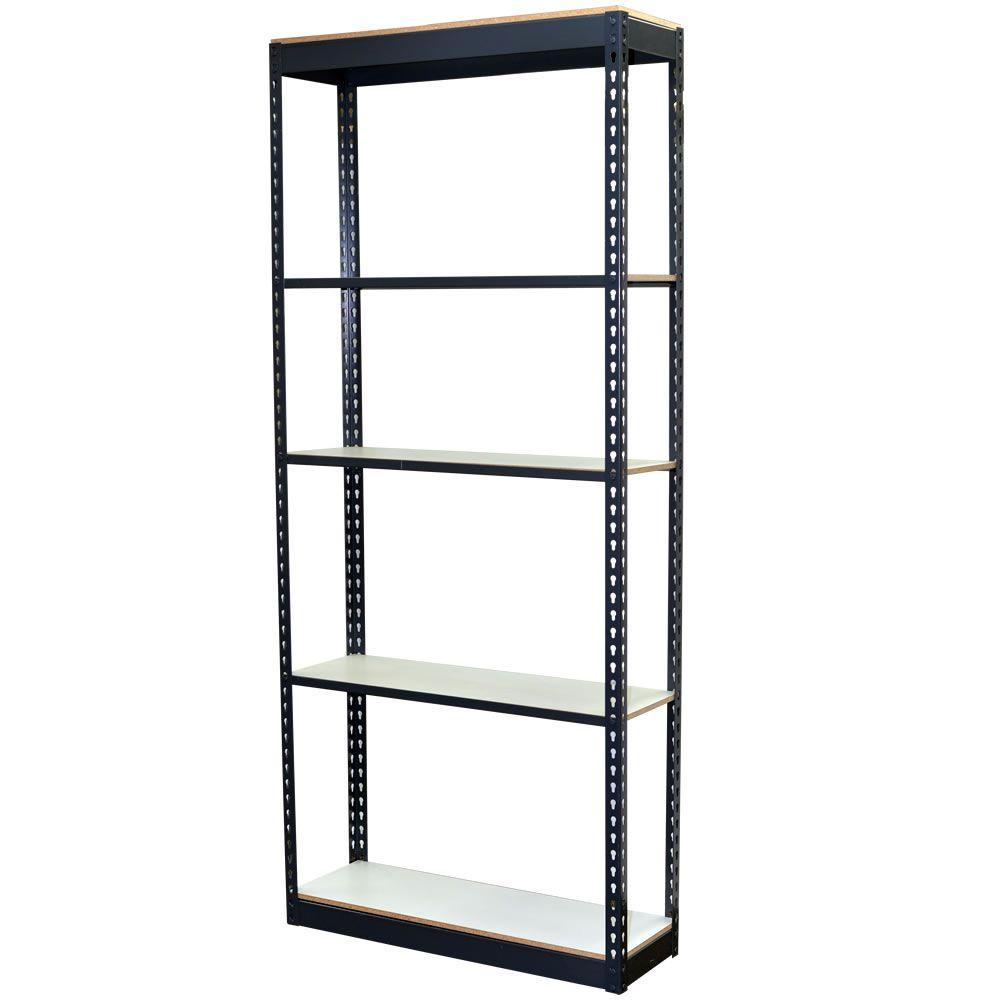 Storage Concepts 84 in. H x 36 in. W x 18 in. D 5-Shelf Steel Boltless Shelving Unit with Low Profile Shelves and Laminate Board Decking