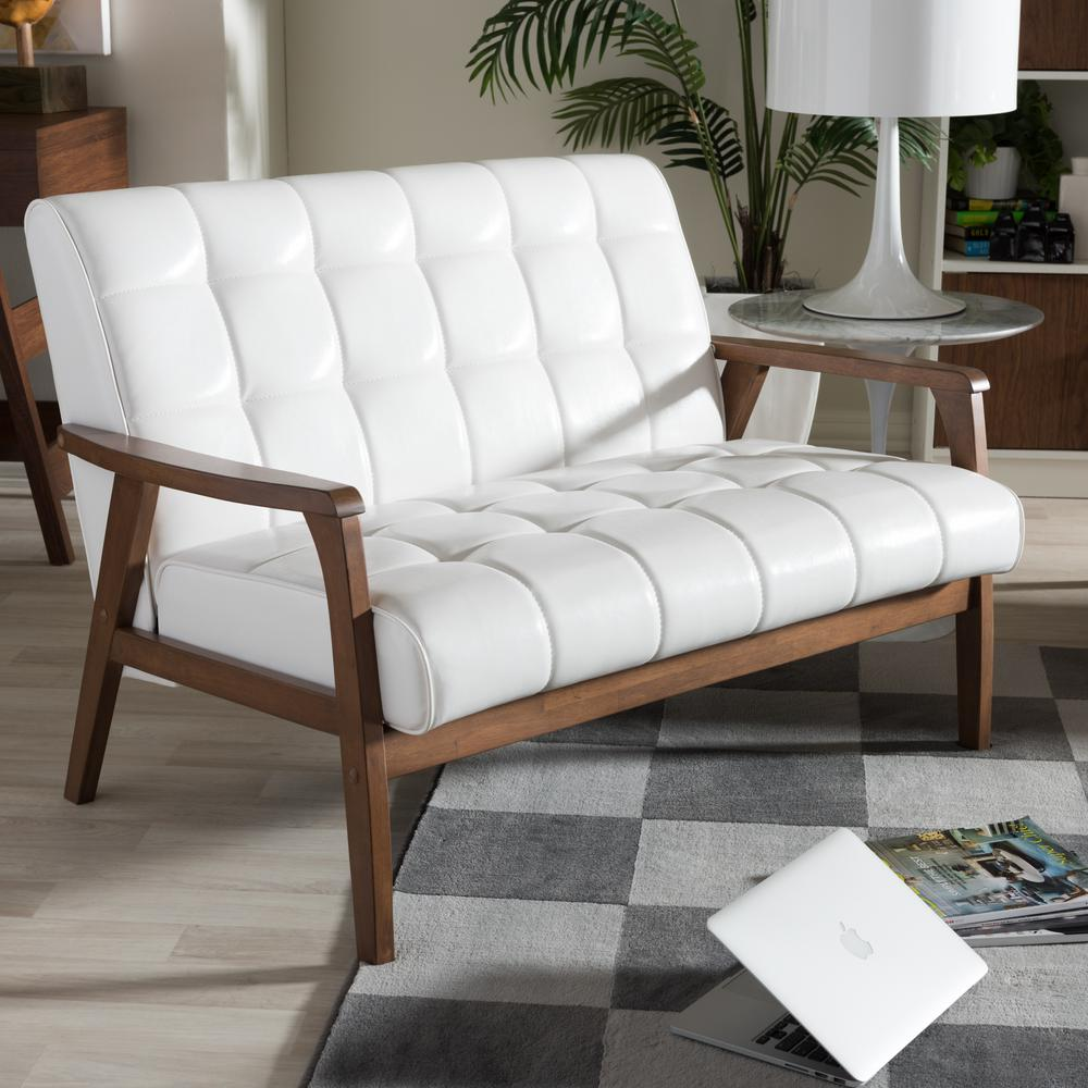 Baxton Studio Masterpiece Mid Century White Faux Leather Upholstered Loveseat 28862 6237 Hd