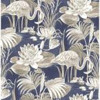 Miltonia Navy Flamingo Paper Strippable Roll (Covers 56.4 sq. ft.)
