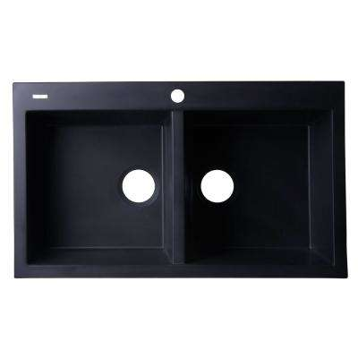 Drop-In Granite Composite 33.88 in. 1-Hole 50/50 Double Bowl Kitchen Sink in Black