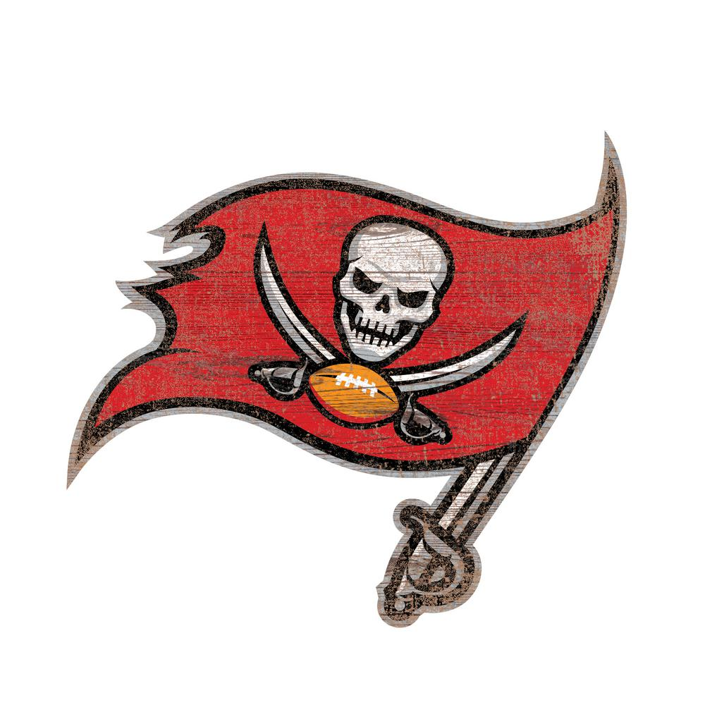 Adventure Furniture NFL Indoor Tampa Bay Buccaneers Distressed Logo Cutout  Wood Sign d7a5f73b2ab