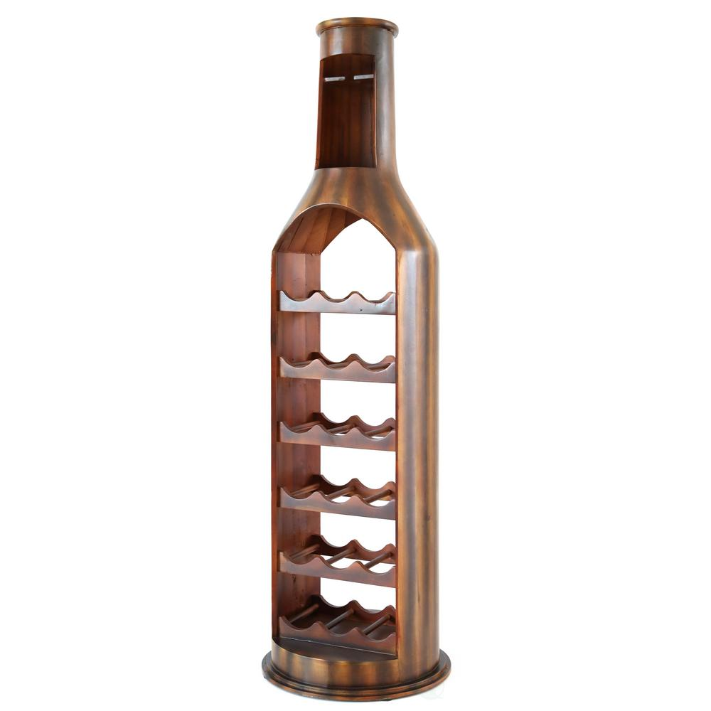 18-Bottle Cherry Brown Wooden Bottle Shaped Wine Rack with Decorative Wine