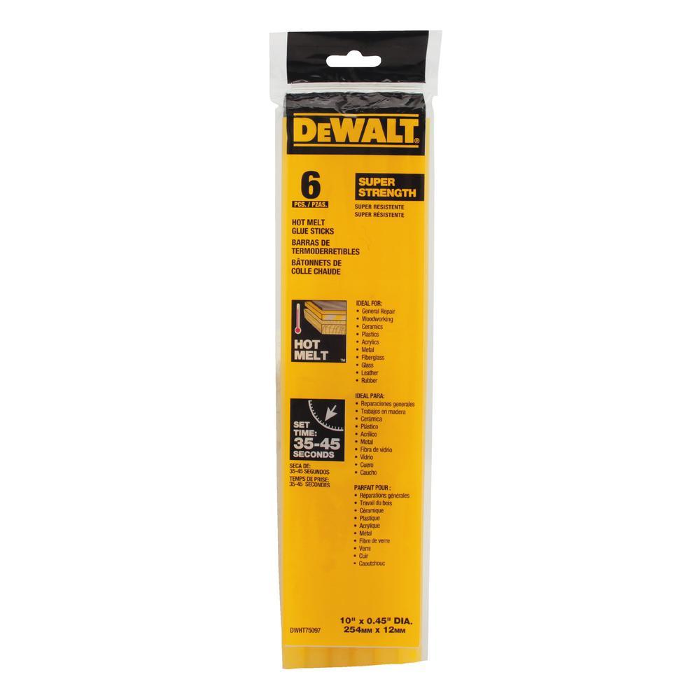 DEWALT 10 in. x 7/16 in. Dia Hot Melt Full Size Glue Sticks (6-Pack)