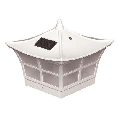 5 in. x 5 in. White PVC Ambience Outdoor Solar Post Cap (2-Pack)