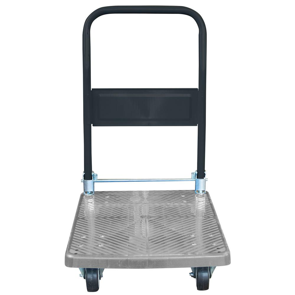 Prime Pro Series 18 In W 440 Lbs Capacity Heavy Duty Plastic Folding 4 Wheeled Platform Truck Utility Cart In Blue Machost Co Dining Chair Design Ideas Machostcouk