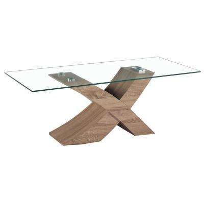 Venice X Modern Style Glass Coffee Table with Oak Effect Base
