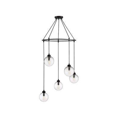 5-Light Oil Rubbed Bronze Pendant with Clear Glass