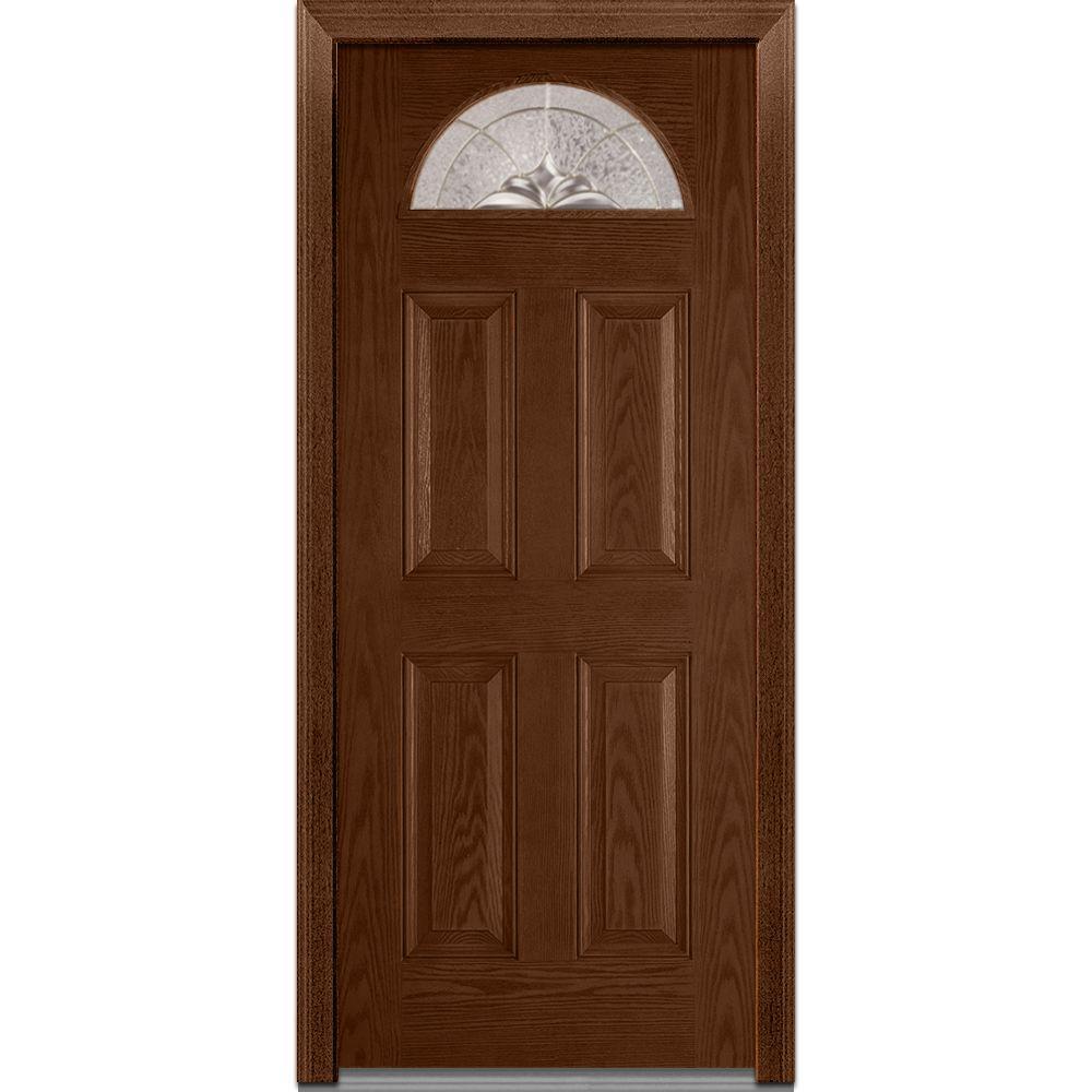 MMI Door 32 in. x 80 in. Heirloom Master Left-Hand 1/4-Lite Decorative 4-Panel Classic Stained Fiberglass Oak Prehung Front Door