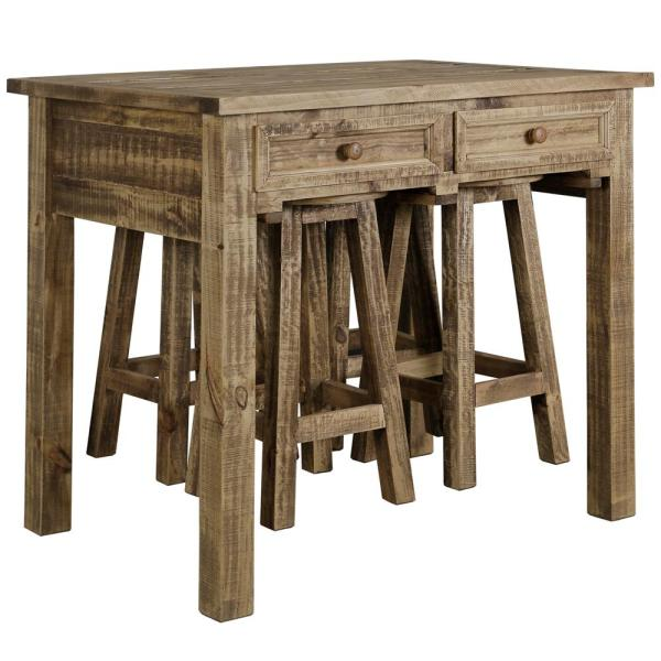 5-Piece Natural Island Table with Stools Dining Set