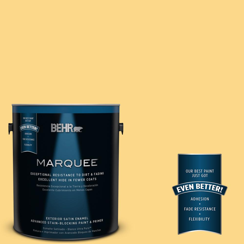 BEHR MARQUEE 1-gal. #P280-4 Surfboard Yellow Satin Enamel Exterior Paint