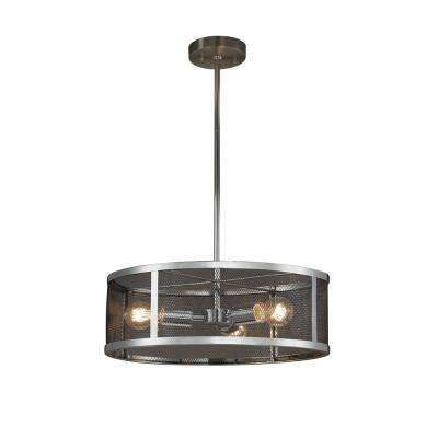 Wire Mesh Wire Mesh 3-Light Polished Chrome Pendant with Wire Mesh Shade