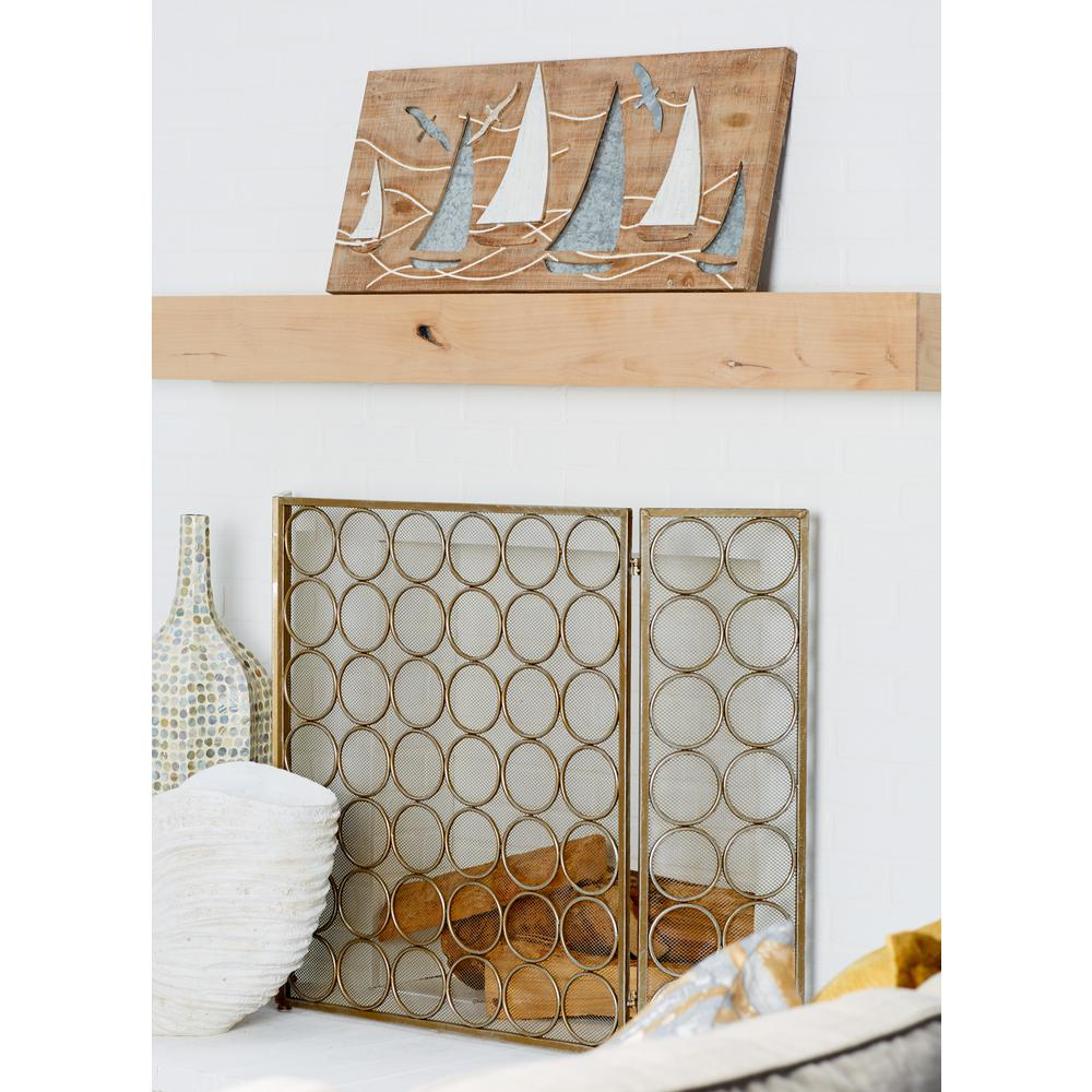 15 in. x 32 in. Sailboats and Flying Birds Wooden Wall