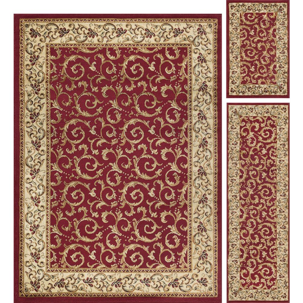 Tayse Rugs Elegance Red 5 Ft X 7 Ft 3 Piece Rug Set 5400