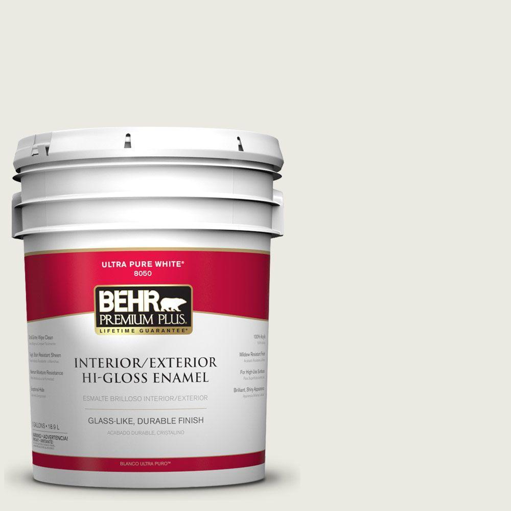 BEHR Premium Plus 5-gal. #W-F-720 Silver Leaf Hi-Gloss Enamel Interior/Exterior Paint
