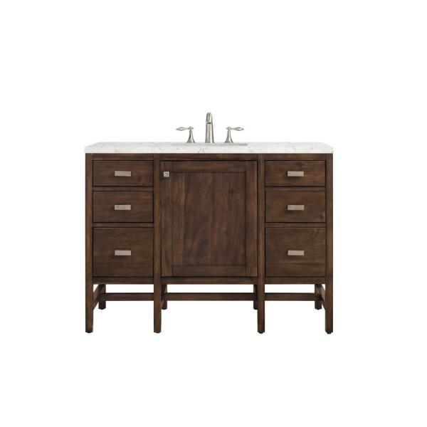 Addison 48 in. Single Vanity in Mid Century Acacia with Quartz Vanity Top in Eternal Jasmine Pearl with White Basin