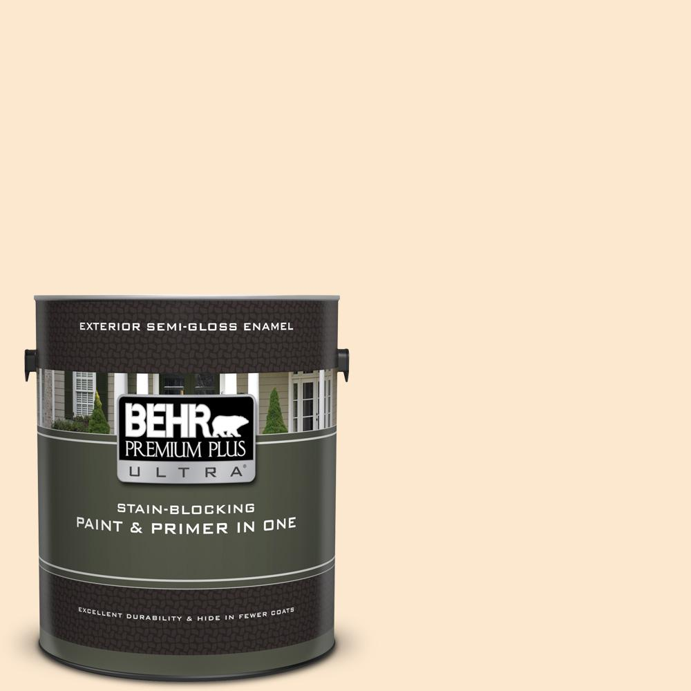 Behr Premium Plus Ultra 1 Gal M230 2 Fair Ivory Semi Gloss Enamel Exterior Paint And Primer In One 585001 The Home Depot