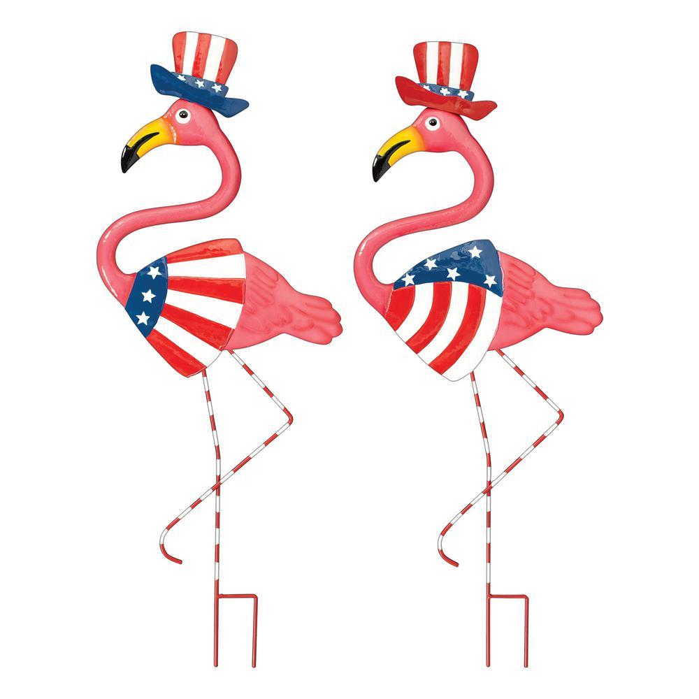 Metal Patriotic Flamingo Yard Stakes