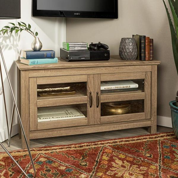 44 in. Wood Corner TV Media Stand Storage Console - Driftwood