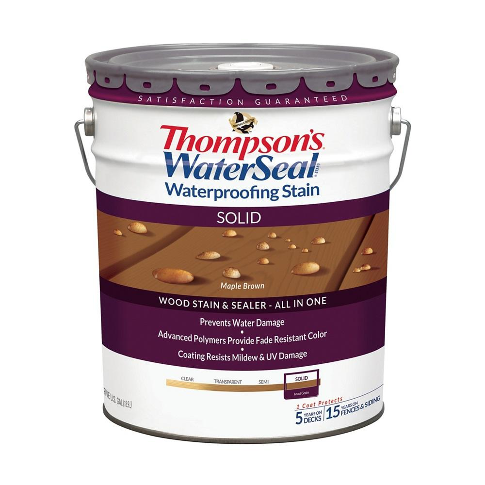 Thompson 39 S Waterseal 5 Gal Solid Maple Brown Waterproofing Stain Exterior Wood