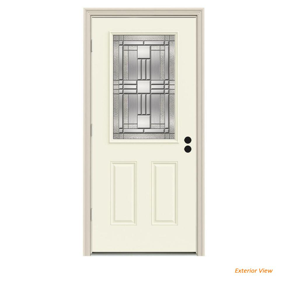 JELD-WEN 36 in. x 80 in. 1/2 Lite Cordova Vanilla Painted Steel Prehung Right-Hand Outswing Front Door w/Brickmould