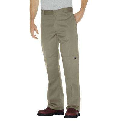 Men's Khaki Loose Fit Double Knee Work Pants