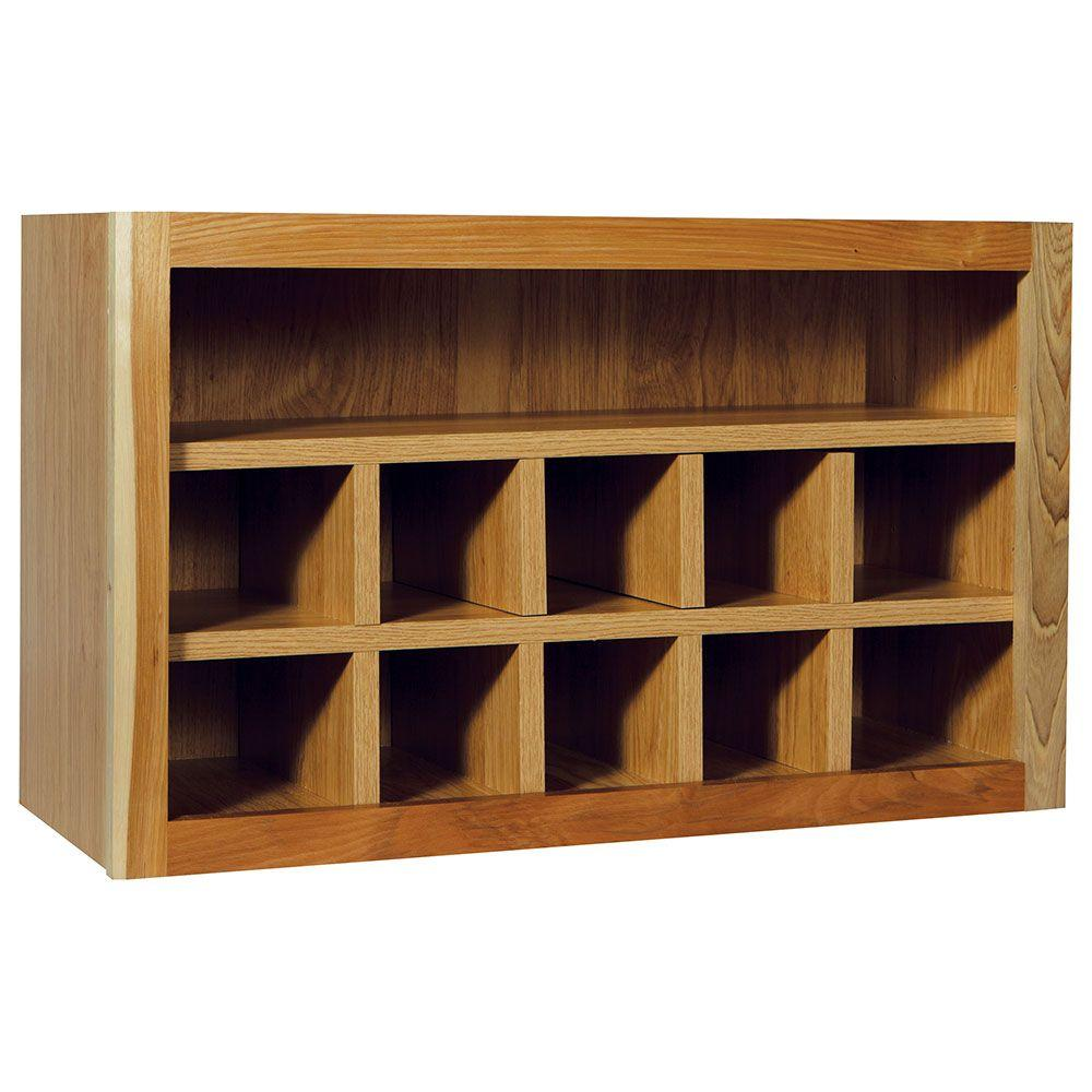 Hampton Bay Hampton Assembled 30x18x12 in. Wall Flex Kitchen Cabinet with  Shelves and Dividers in Natural Hickory