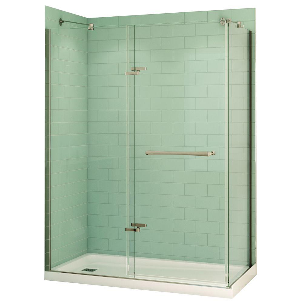 Reveal 32 in. x 60 in. x 74.5 in. Corner Shower Stall in White