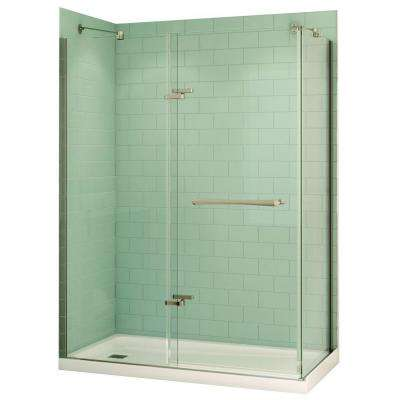 Reveal 32 in. x 60 in. x 74-1/2 in. Alcove Shower Kit in Chrome with Left Drain Base in White